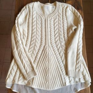 🍭A-MAZING CAbi Ivory Knit Lace Up Sweater